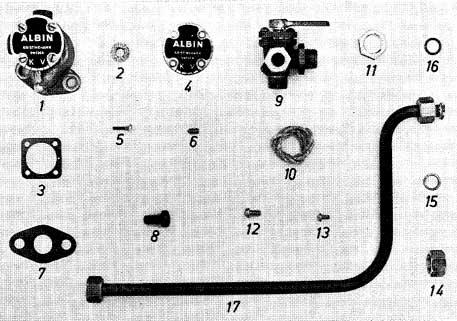 Albin O41 Koelwaterpomp onderdelen